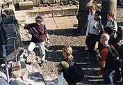 Ruth Jacoby visiting the ancient synagogue in Corzin with students from her 'Synagogues through the ages' course.