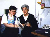 Beverly Baker (right) with Center researcher Dana Peleg