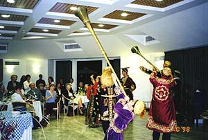 Symposium participants enjoy performance by Bukharian dancers at festive evening at the Hebrew University