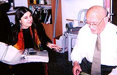 Jack Gerdner with Ariella Amar, Head of the Index's Ritual Objects Section